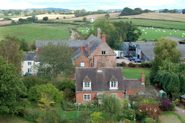 Castle Farm, Raglan, seen from the Great Tower of the castle