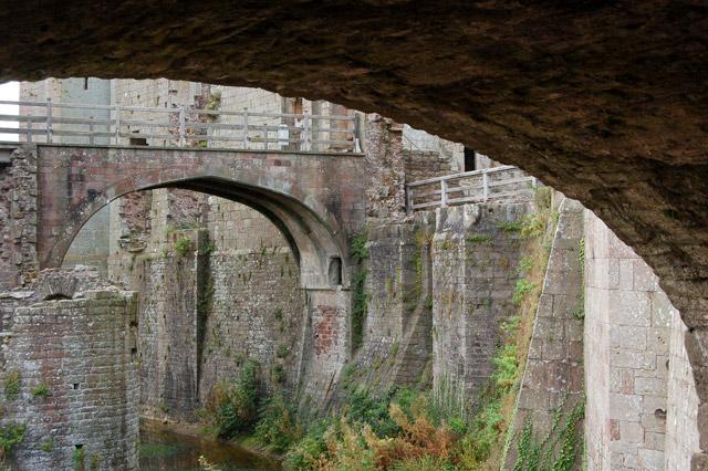 Bridge over moat to Great Tower, Raglan Castle