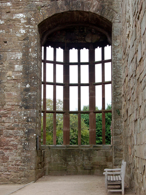 Partially restored window, The Hall, Raglan Castle
