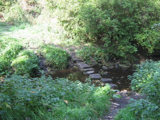 Stepping stones over Holywell Burn