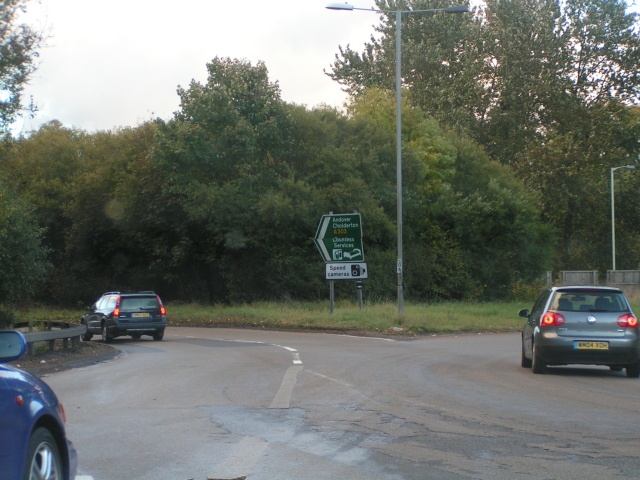 A303 to London at the roundabout at Countess Services near Stonehenge