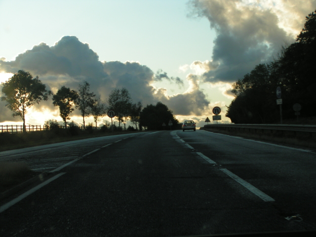Heading west into the sunset on the A303