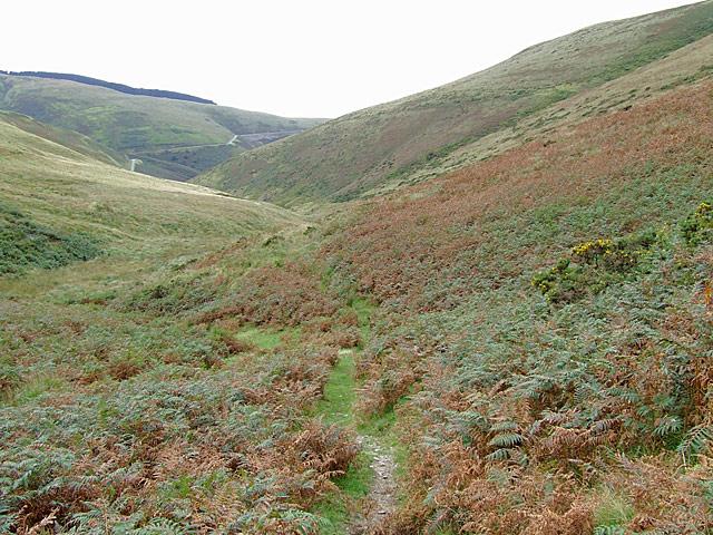 Bridleway descending Cwm Gwrach, Powys