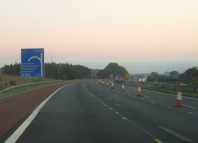 M6 motorway, approaching Lancaster