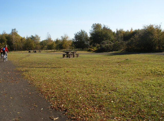 Picnic tables by the Trans Pennine Trail