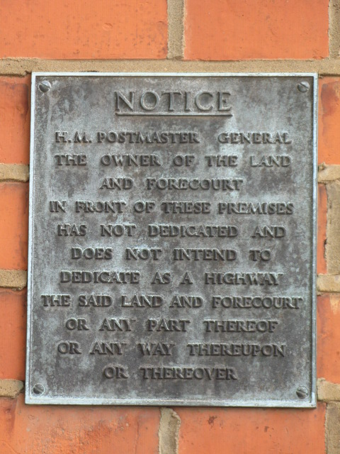 Notice on the (former) Sorting Office, Leighton Road, NW5