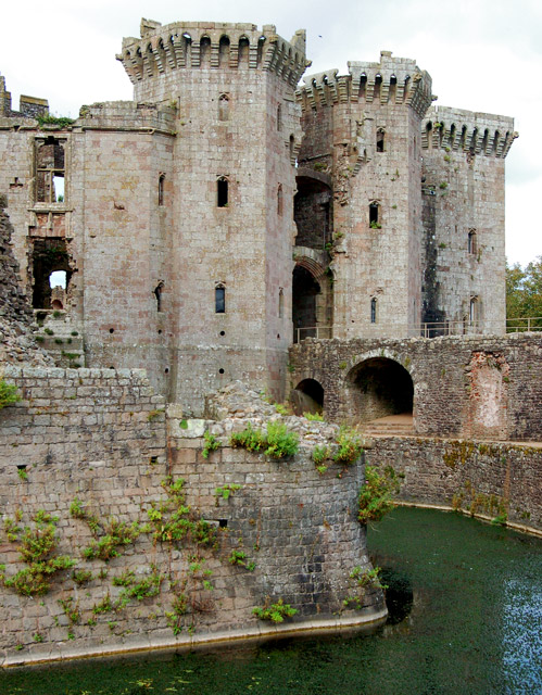 A corner of the moat at Raglan Castle