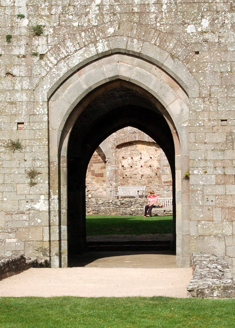 Looking through South Gate to the Fountain Court, Raglan Castle
