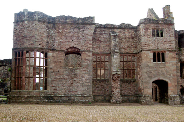 Partly-restored windows facing the Pitched Stone Court, Raglan Castle