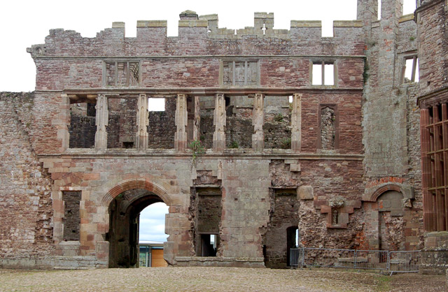 Looking south across the Pitched Stone Court, Raglan Castle