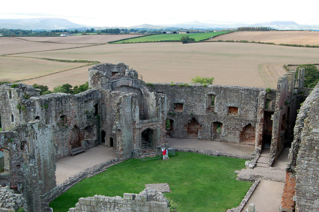 Fountain Court seen from the top of the Great Tower, Raglan Castle