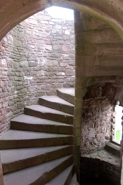 Stairway to the top of Great Tower, Raglan Castle