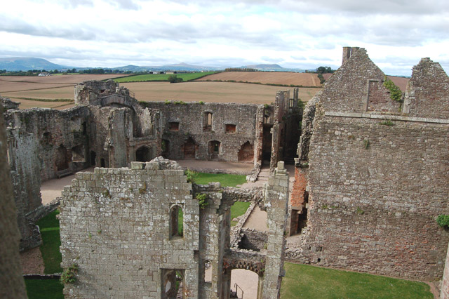 The Hall and Fountain Court, Raglan Castle, seen from the Great Tower