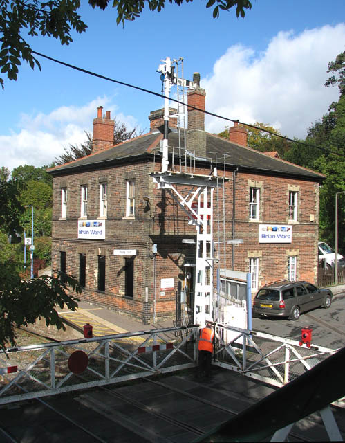 Brundall railway station - gantry signal