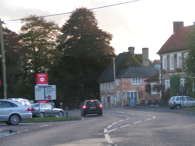In the centre of Upavon, heading south on the A345