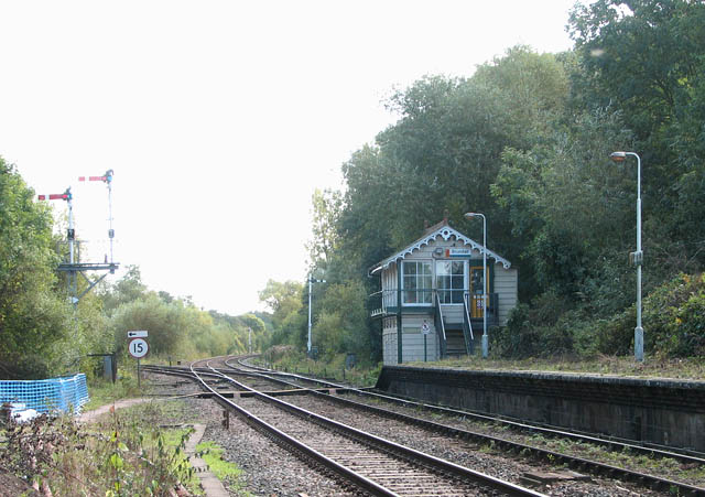 Brundall railway station - view SE along the railway line