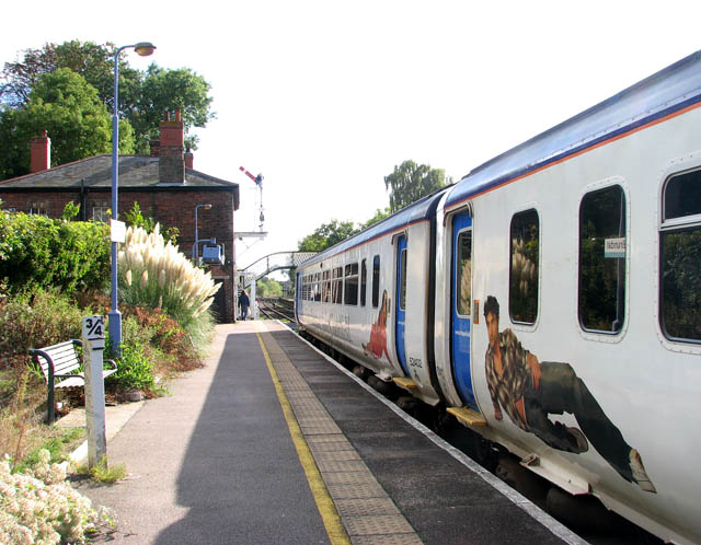 Brundall station - eastbound train on platform 2