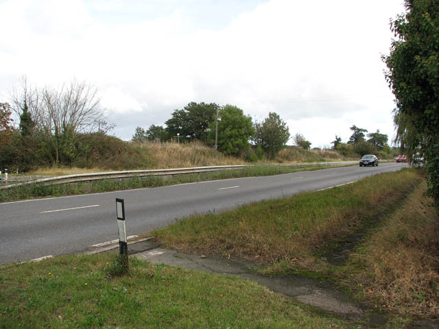 View east along the A47