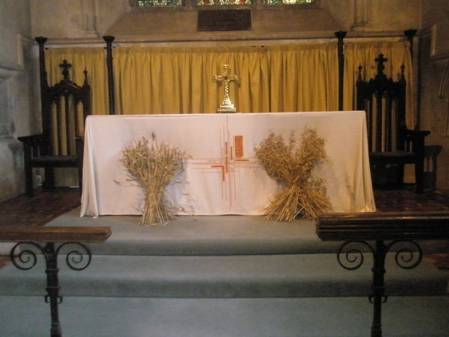 The harvest altar at St Mary, Buriton
