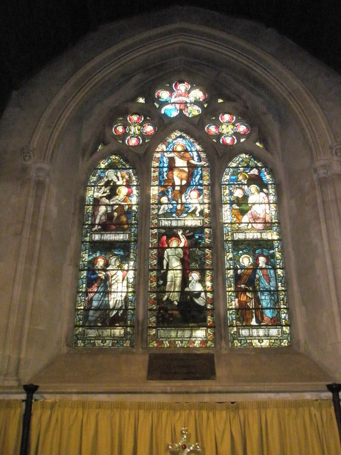 Stained glass window above the altar at St Mary, Buriton