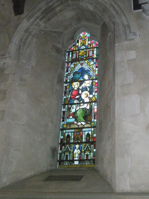 Stained glass window in the chancel at St Mary, Buriton