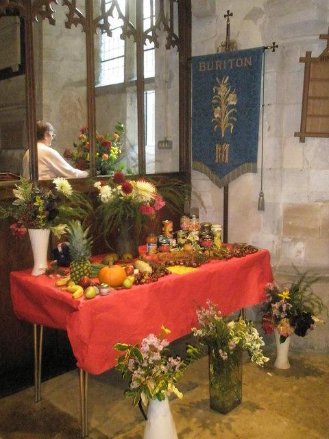 Harvest display within St Mary, Buriton