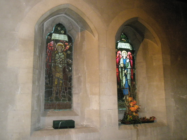 Stained glass window near the pulpit at St Mary, Buriton
