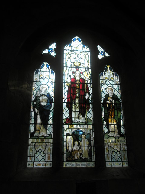 Stained glass window near the side altar at St Mary, Buriton