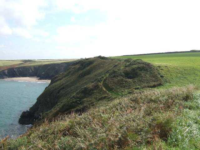 Cliffs and the coast path with Musselwick in the distance
