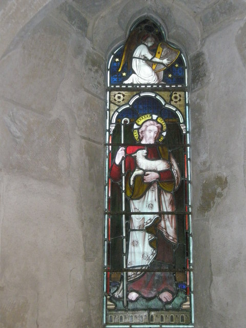 Stained glass window on the south wall at St Mary, Buriton (1)