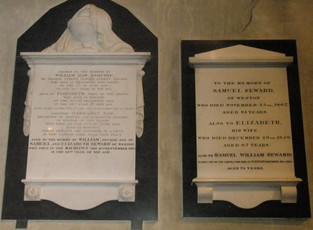 Memorials on the south wall at St Mary, Buriton