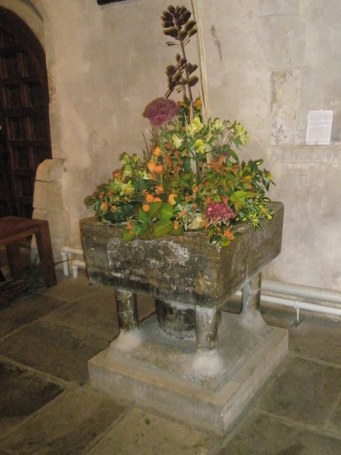 The harvest font at St Mary, Buriton