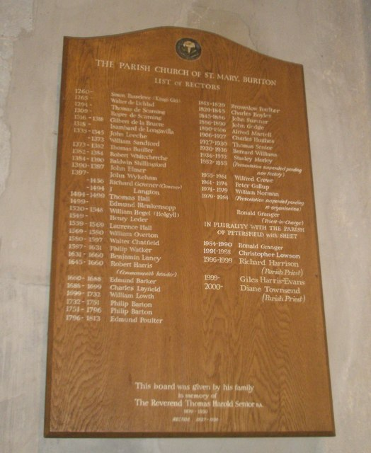 Familiar names on the incumbency board at St Mary, Buriton