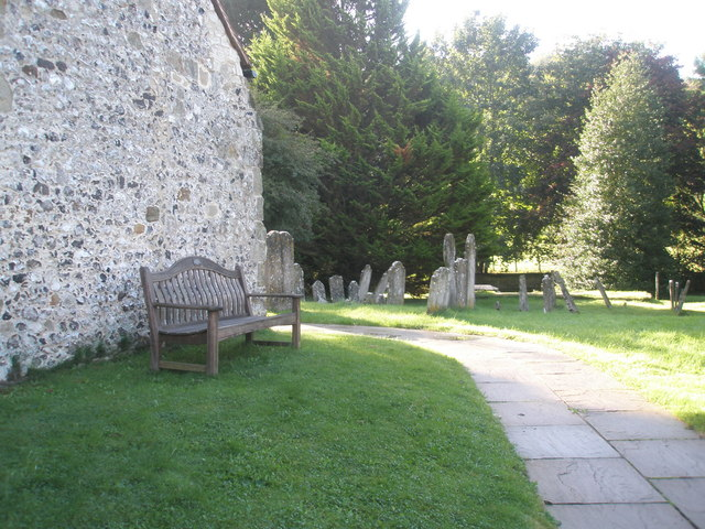 Seat in the churchyard at St Mary, Buriton