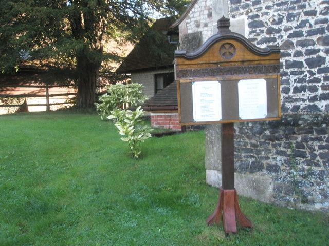 Notice board outside St Mary, Buriton