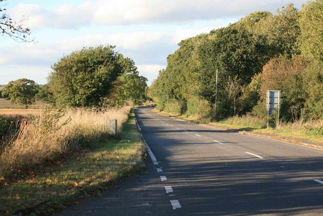 The A423 looking towards Marton