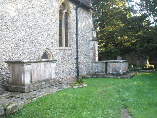 Tombs in the churchyard at St Mary, Buriton