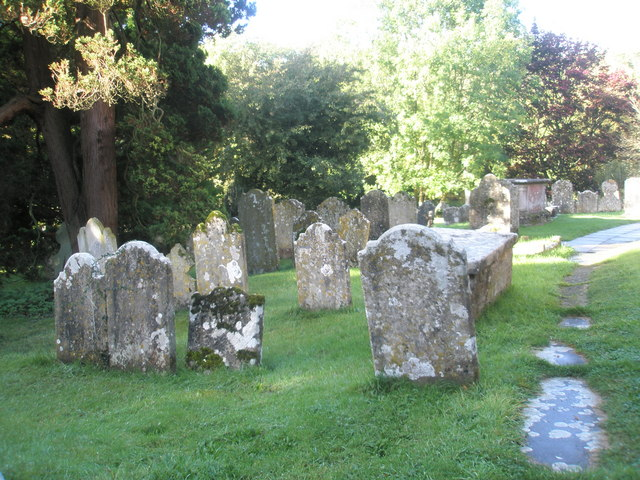 Ancient gravestones  in the churchyard at St Mary, Buriton
