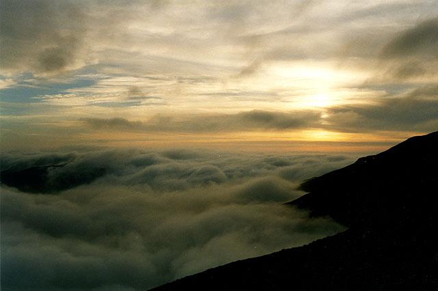 Cloud inversion and sunset, Cadair Idris