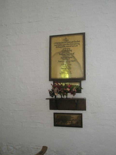 Simple war memorials within St Paul's, Elsted