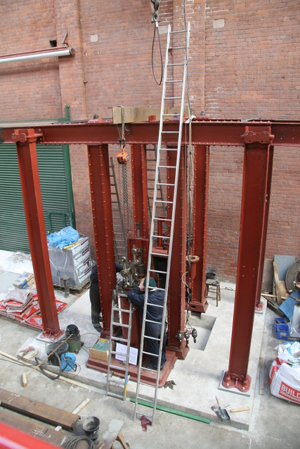 Bolton Steam Museum - erectors at work