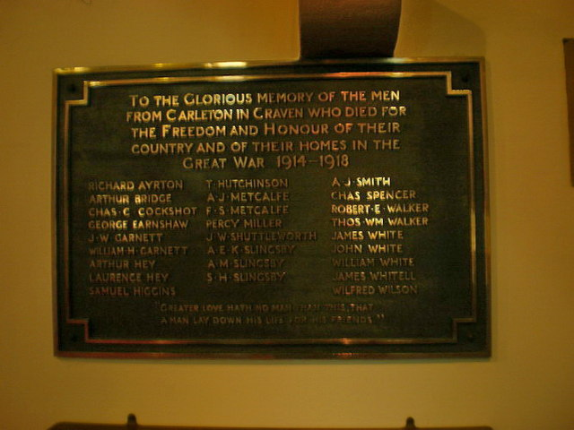 St Mary the Virgin, Carleton-in-Craven, War Memorial