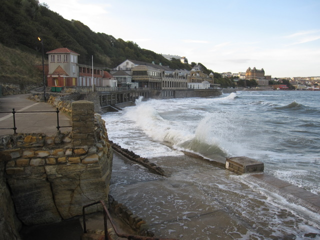 High tide in front of Scarborough Spa