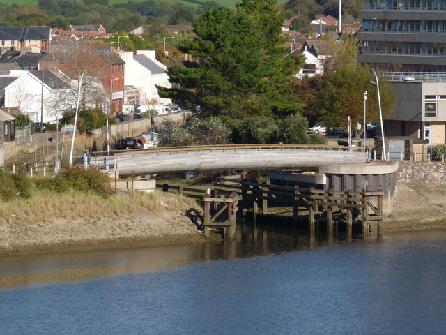 A swing bridge on the Tarka Trail at the mouth of the river Yeo