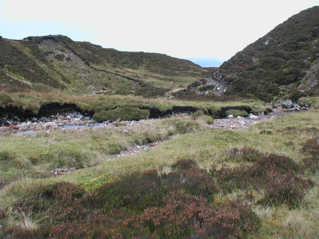 Moraine meandering of the Allt Glas Choire east of Meall Buidhe