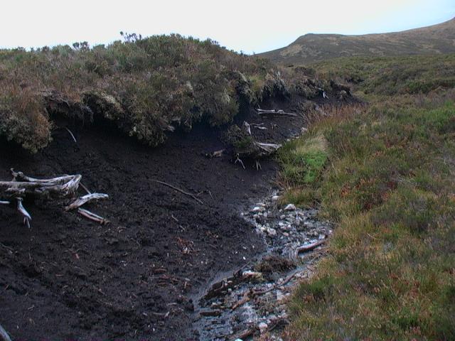 Peat bank looking south near Carn nam Fiadh