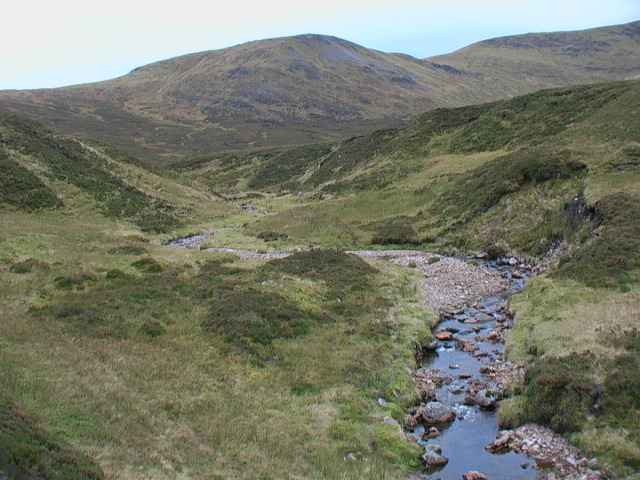 Course of the Allt Glas Choire looking south