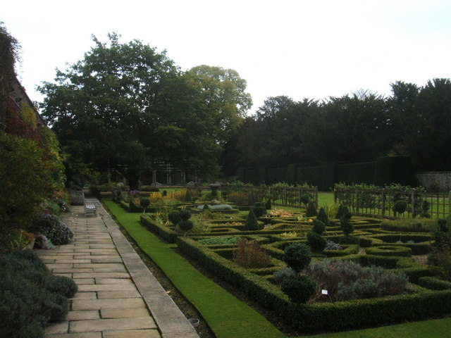 Formal garden in grounds of Hassop Hall