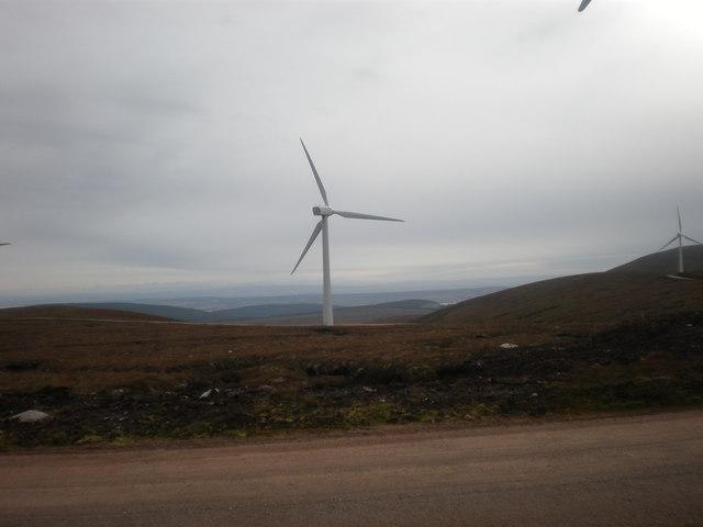 View south from Beinn Tharsuinn  Wind farm