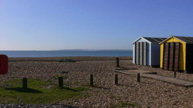Beach huts at South Hayling with view to the Isle of Wight